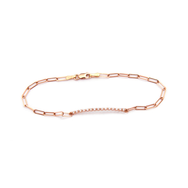 Scalloped Diamond Bar Bracelet (Rose Gold)