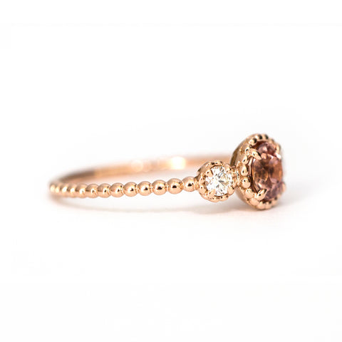 Imperial topaz 3 stone Bloom ring