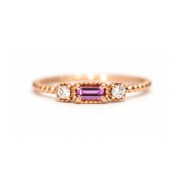 Pink Tourmaline Baguette and Diamond Bloom Ring
