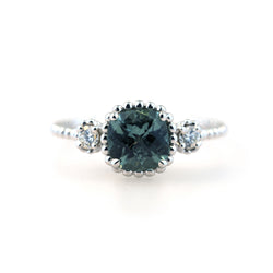 Sea green tourmaline and diamond Aster ring