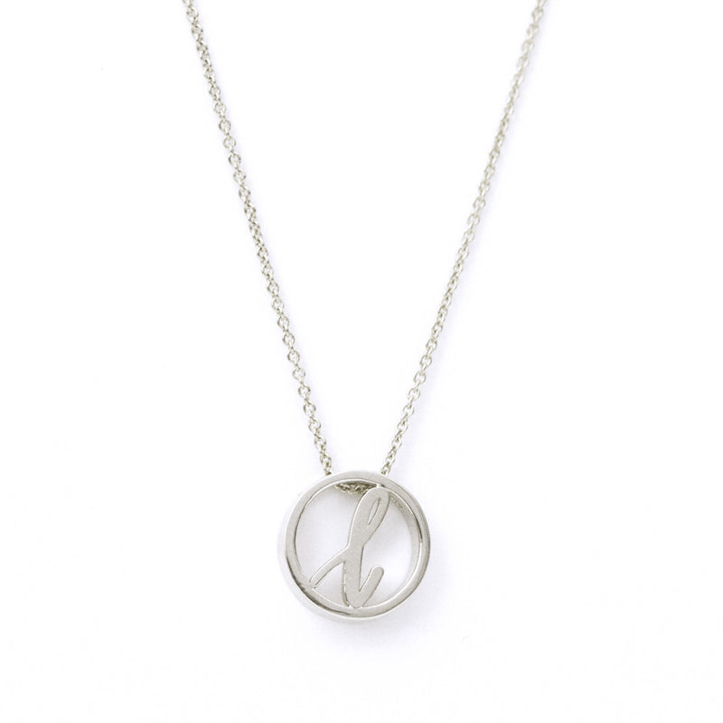 Love Letter Disc Necklace (White Gold)