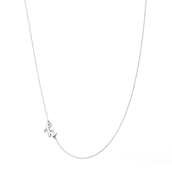 Mini Sideways Love Letter Necklace (White Gold)