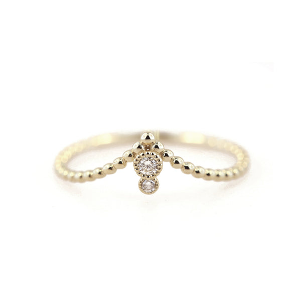 Milgrain Diamond Beaded V Ring