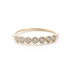 7 Stone milgrain diamond band