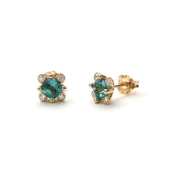 Sea Green Tourmaline with Milgrain Diamond Earrings
