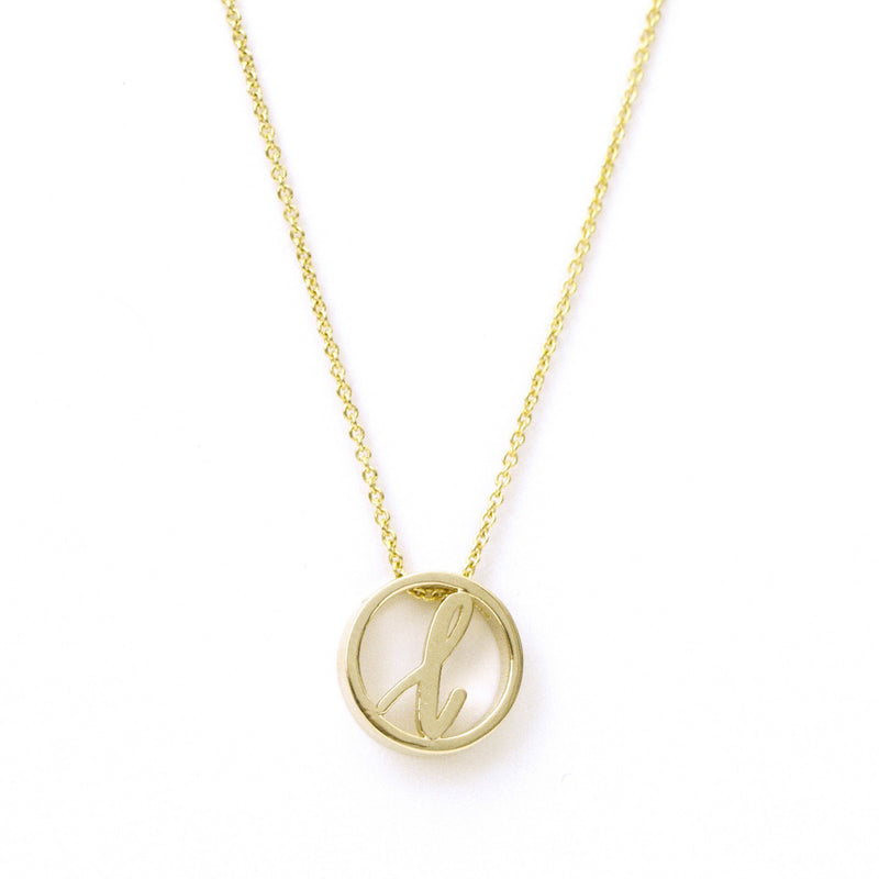 Love Letter Disc Necklace (Yellow Gold)