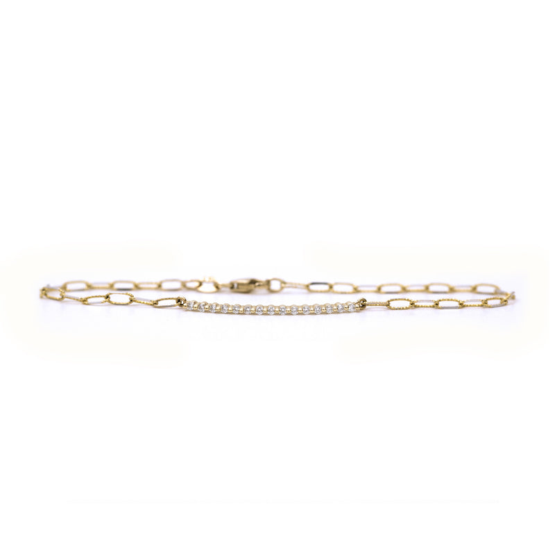 Scalloped diamond bar bracelet (Yellow Gold)