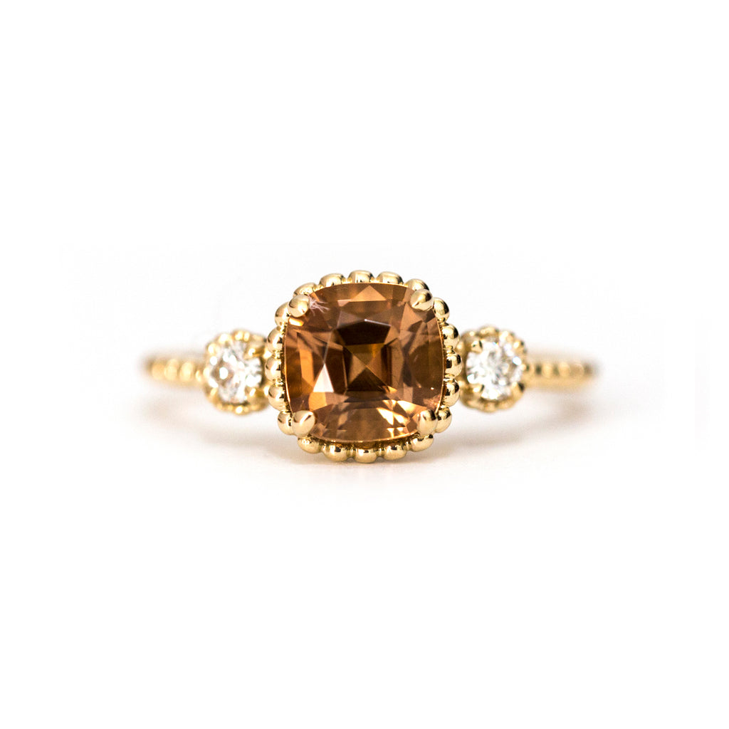 Copper tourmaline and diamond Bloom ring