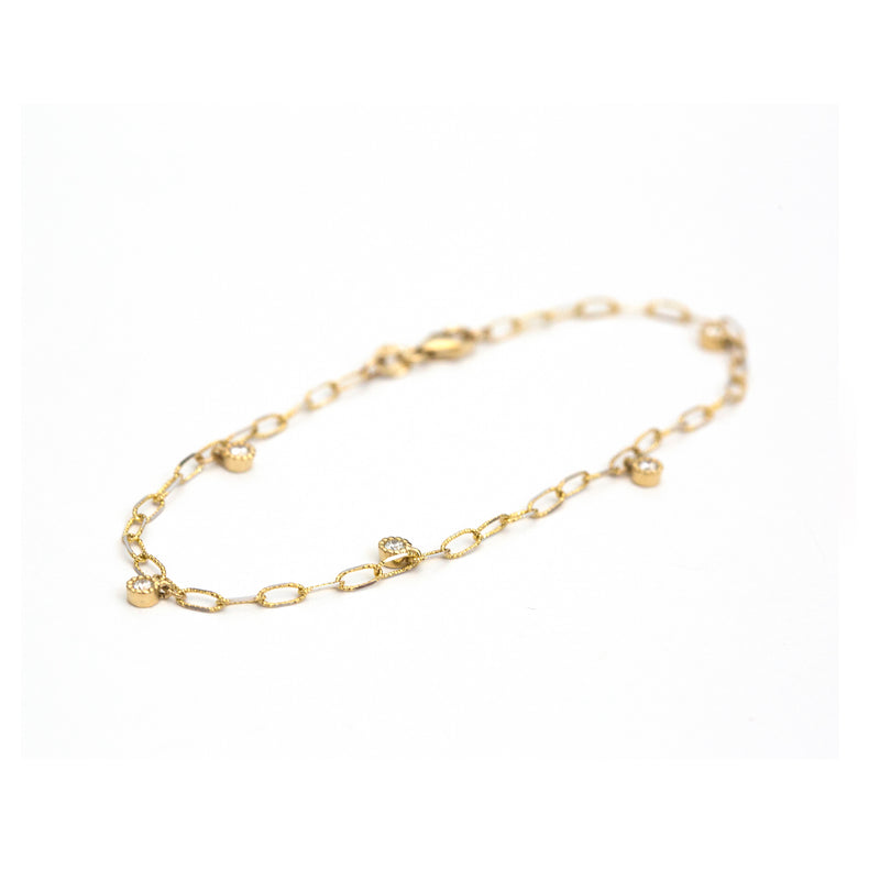 Diamond dangle beaded bezel bracelet (Yellow Gold)