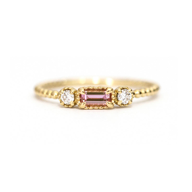 Pink Sapphire Baguette and Diamond Bloom Ring