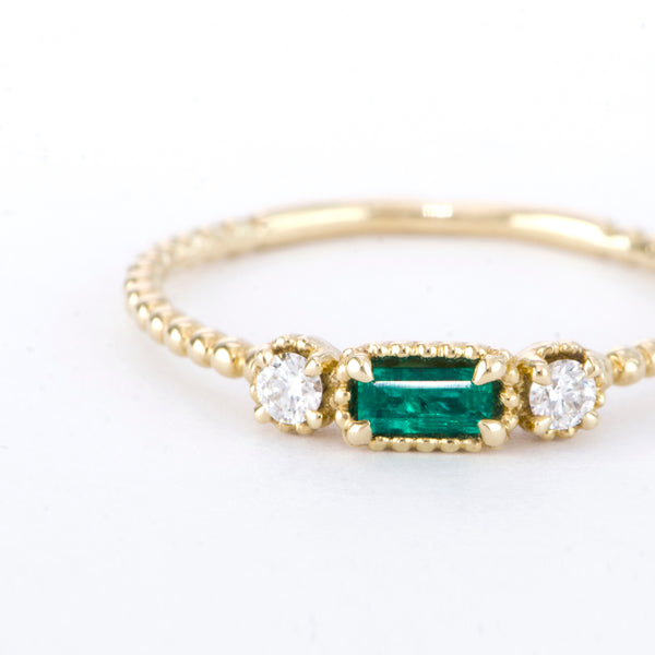 Emerald Baguette and Diamond Bloom Ring