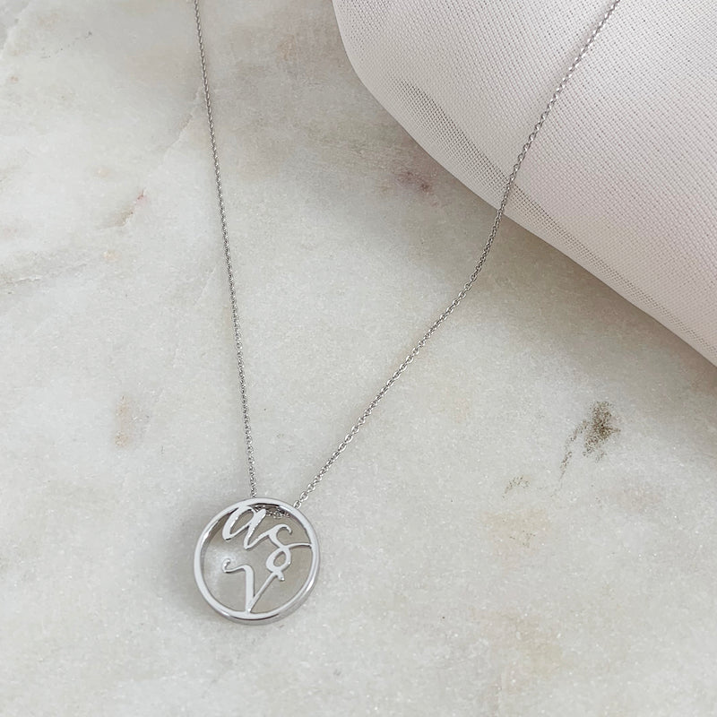 Custom Love Letter Monogram Disc Necklace