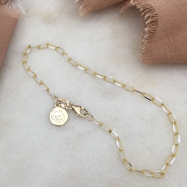 Custom Face Engraved Tag Bracelet (Yellow Gold)