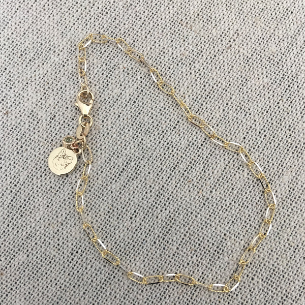 Custom face engraved tag bracelet with dangly bezel with birthstone (Yellow Gold)