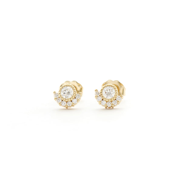 Solitaire Bezel with 6 Stone Diamond Earrings