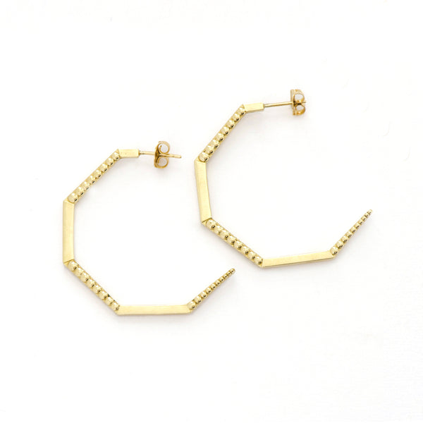 Hexagon Beaded Hoop Earrings