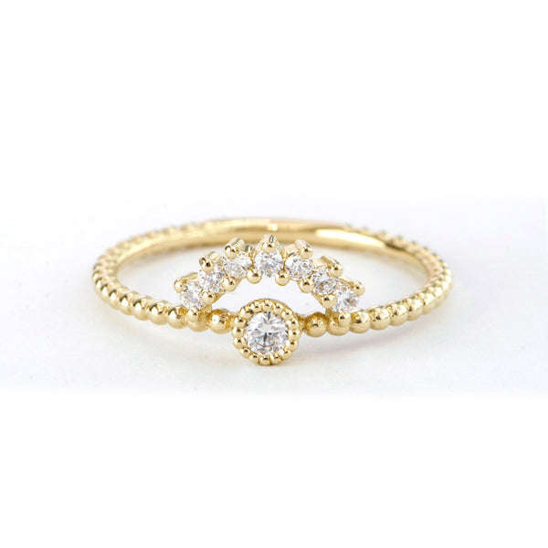7 Stone Diamond Arch and Single Bezel Ring