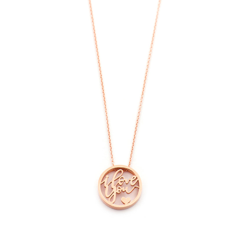 "Love Letter ""I Love You"" Disc Necklace"