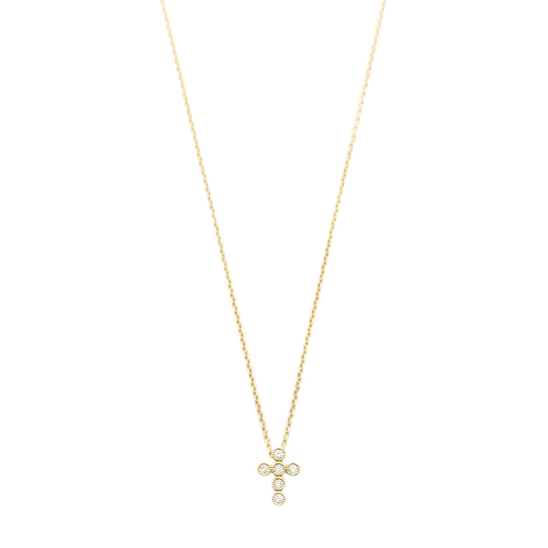 Diamond Bezel Cross Necklace