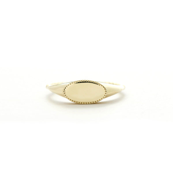 Oval Milgrain Signet Ring
