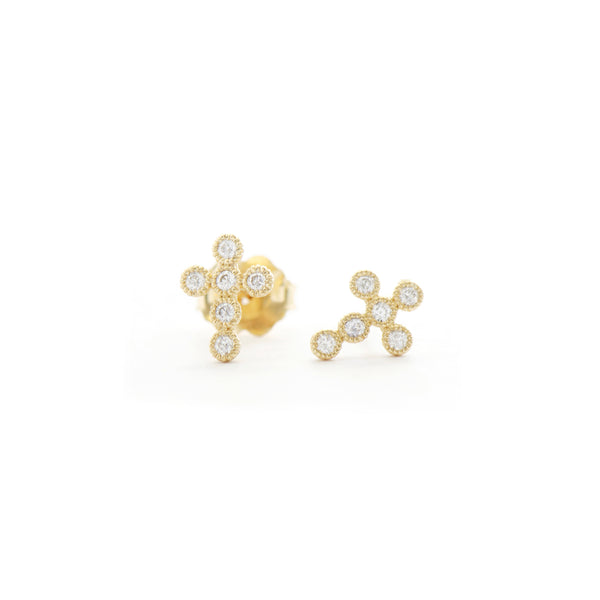 Diamond Milgrain Bezel Cross Earrings