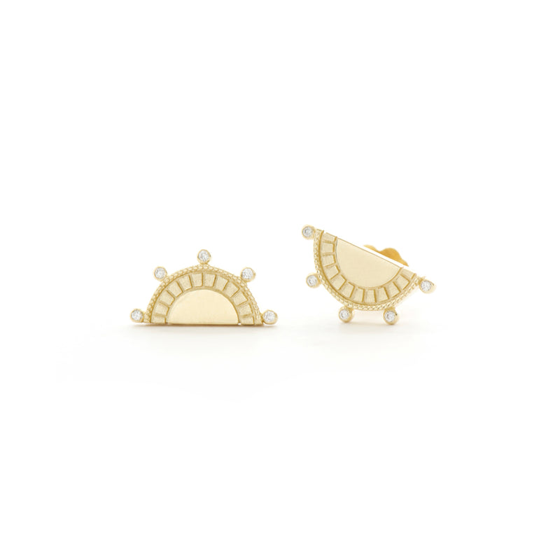 Sun Ray Diamond Bezel Earrings