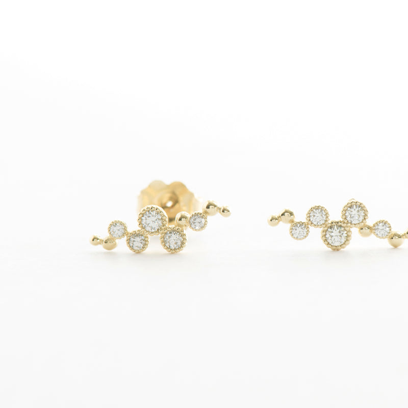 Diamond Milgrain Bezel and Ball Earrings