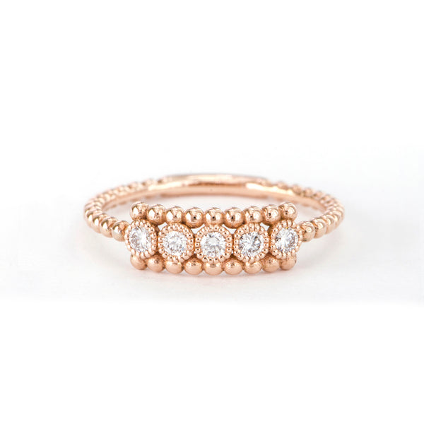 5 Stone Diamond Bezel Beaded Ring