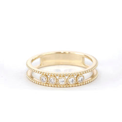 5 Stone Diamond Bezel Double Beaded Band