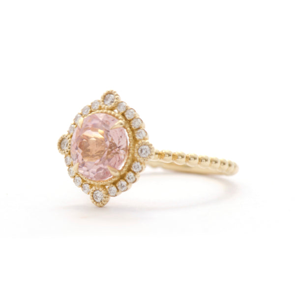 Light Pink Tourmaline Diamond Bezel and Halo Ring