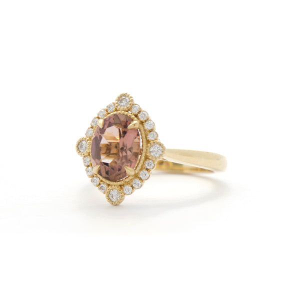Oval Pink Champagne Tourmaline Diamond Bezel and Halo Ring