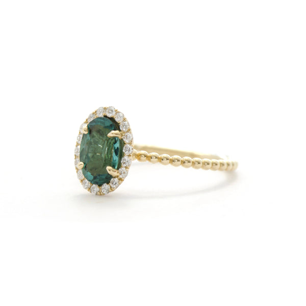 Blue Green Tourmaline and Diamond Halo Bloom Ring