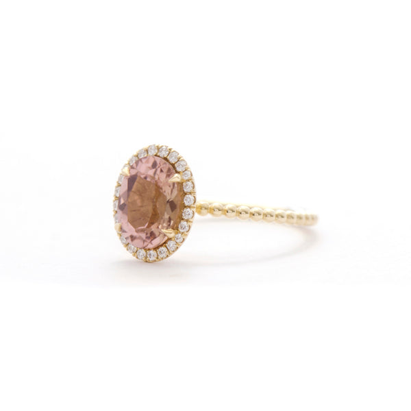 Pink Champagne Tourmaline and Diamond Halo Bloom Ring