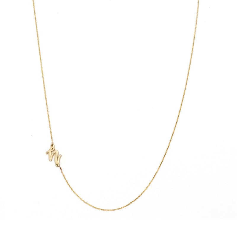 Mini Sideways Love Letter necklace (Yellow gold)