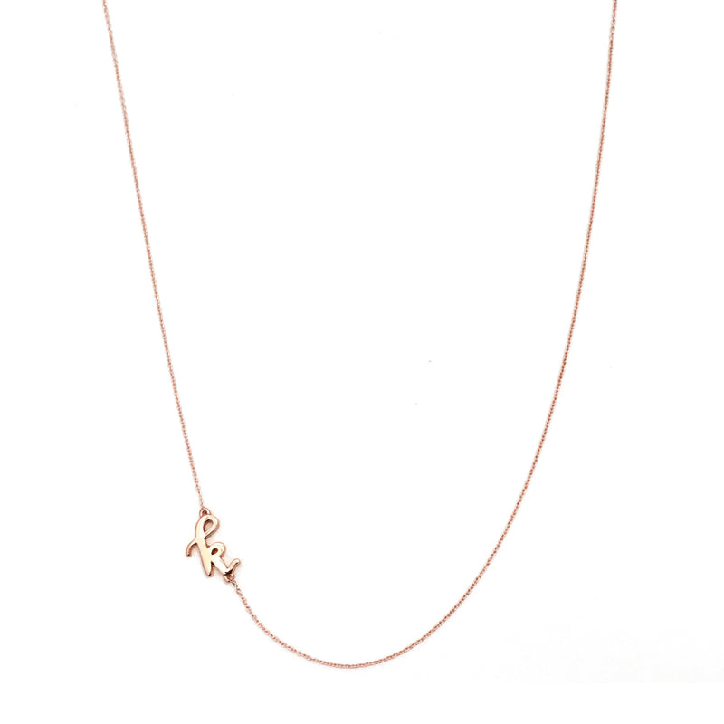 Mini Sideways Love Letter necklace (Rose gold)