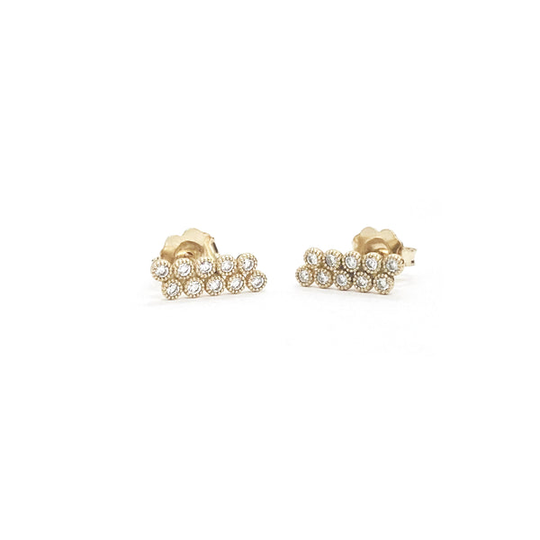 Diamond Milgrain Bezel Earrings