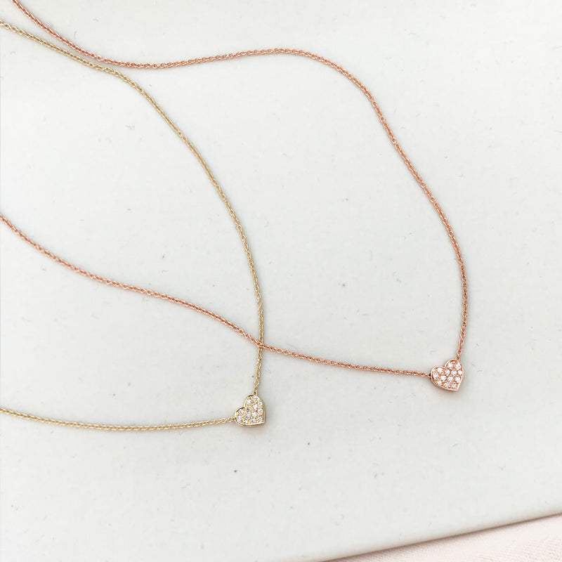 Mini diamond pave heart necklace