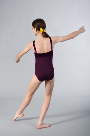 Girls Square Neck Leotard with Velvet