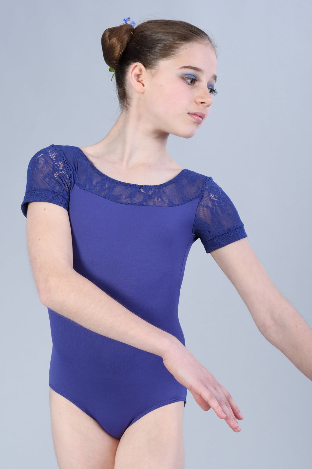 Girls Cap Sleeve with Kara Lace Leotard