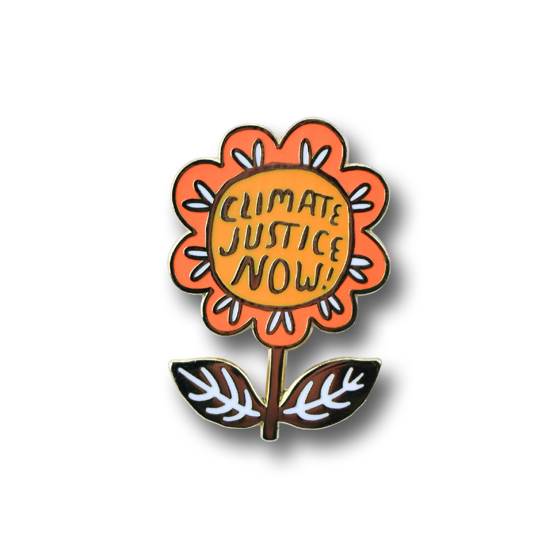 CLIMATE JUSTICE NOW enamel pin