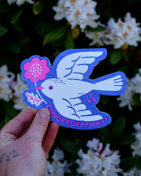 """Congratulations Bird"" Die-Cut card"