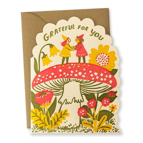 """Grateful Gnome"" Die-Cut card"