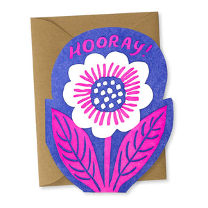 """Hooray Flower"" Die-Cut card"