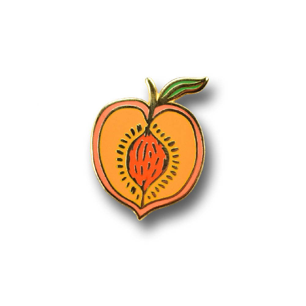 Peach enamel pin