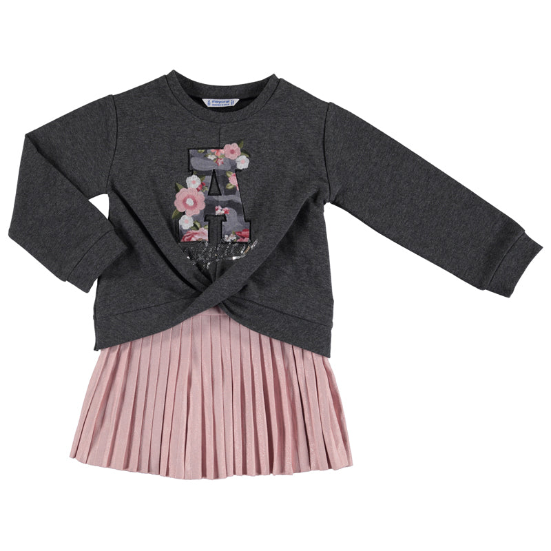 Mayoral Girl AW19 Grey & Pink pleated dress 4941 (3874629910626)