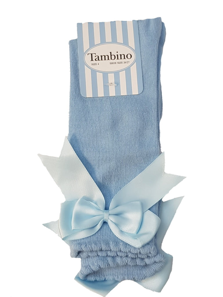 Tambino Bow Knee Socks Baby Blue - Bumkins Designer Kids (626076352539)