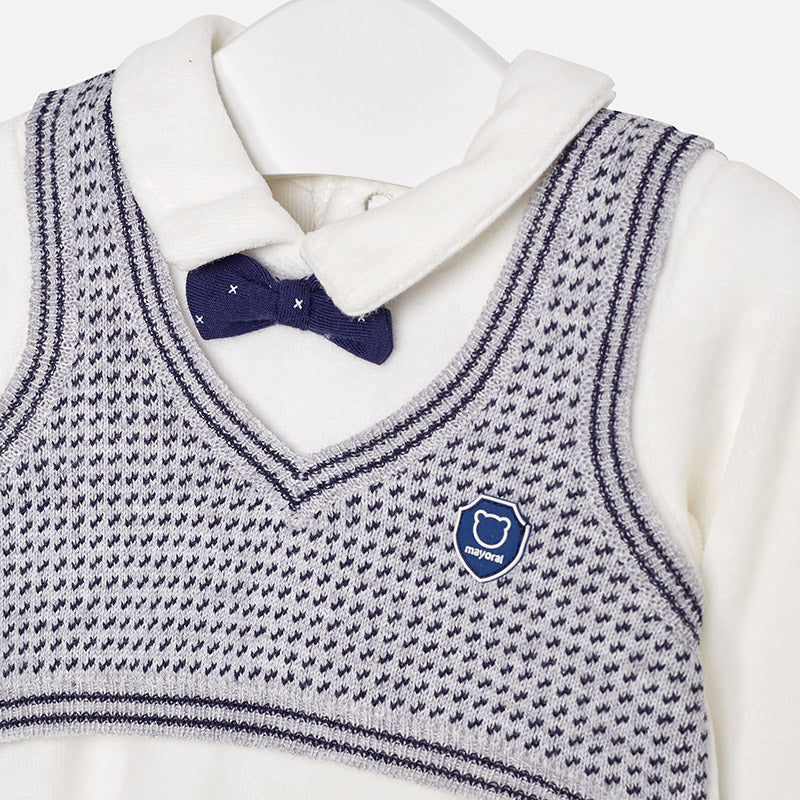 Mayoral Newborn Baby Boy Knitted Vest all in one 2606 (1595447574626)