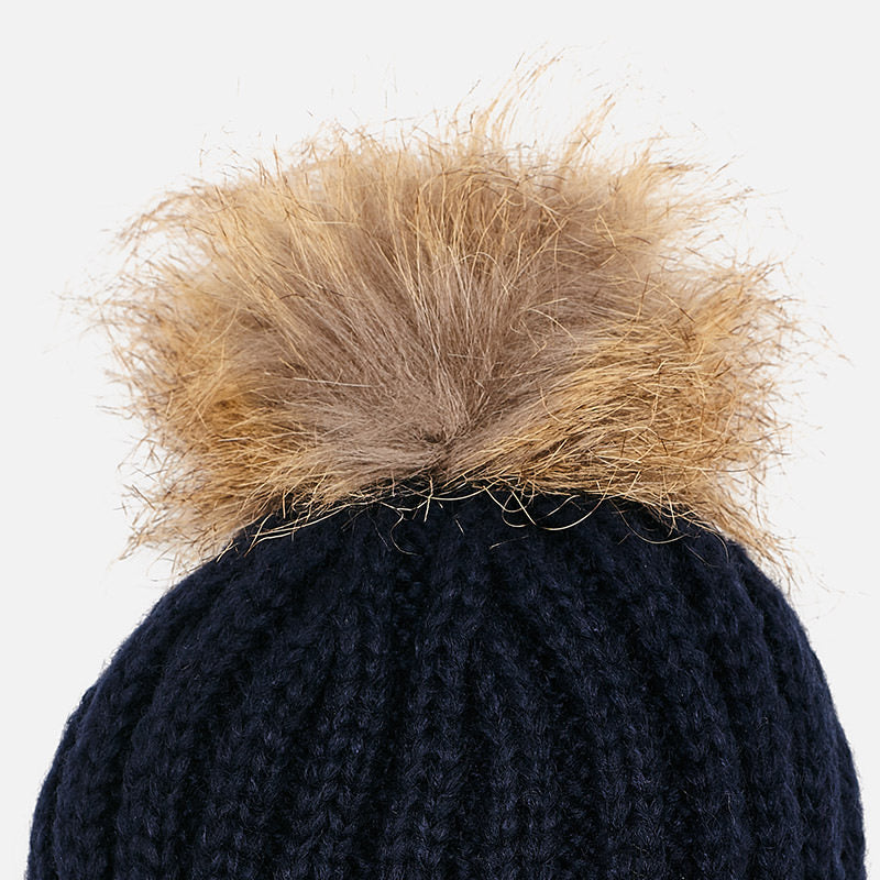 Mayoral Girl Rock Pom Knitted Hat Navy 10511 (1343811649634)