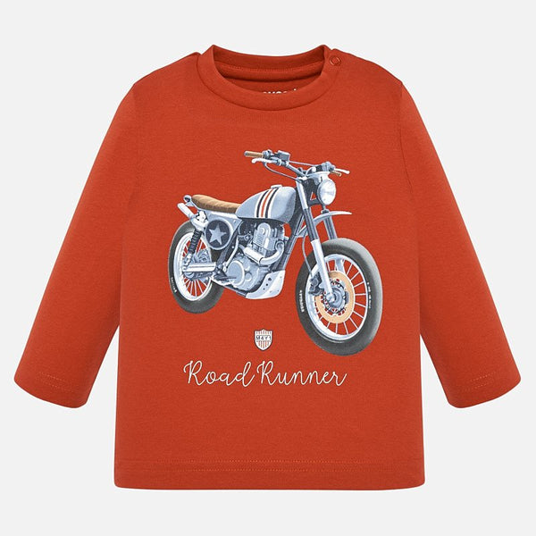 Mayoral Baby Boy AW19 Long sleeved motorbike t-shirt Pumpkin 2019 (4319565545570)