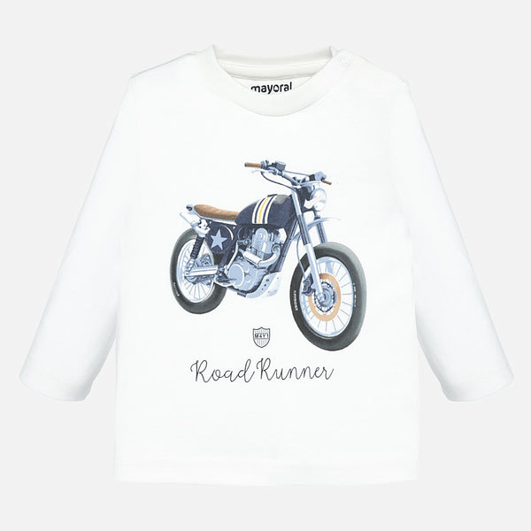 Mayoral Baby Boy AW19 Long sleeved motorbike t-shirt Cream 2019